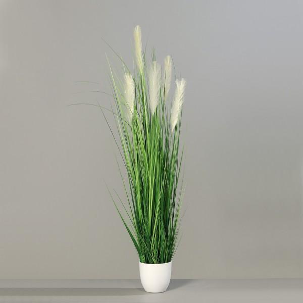 Pampasgras 150cm im weißen Dekotopf DP Dekogras Kunstgras künstliches Gras Kunstpflanzen