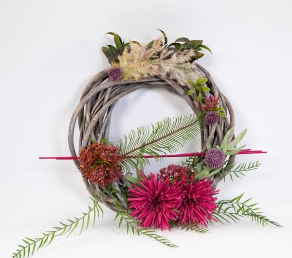 Rattankranz 25cm fuchsia-pink mit Chrysanthemen Kunstblumen künstliche Blumen Kunstkranz