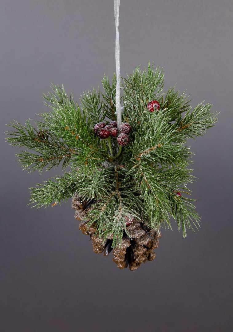 Tannenzapfen Mit Deko Rote Beeren Zum Hangen 24cm Dp Kunstblumen
