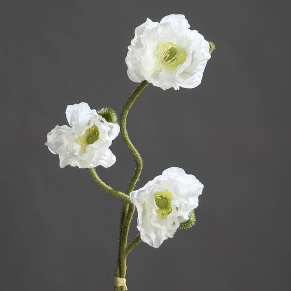 Mohnbund mit 3 Mohnzweigen 70cm weiß DP Kunstblumen künstliche Blumen künstlicher Mohn Papaver