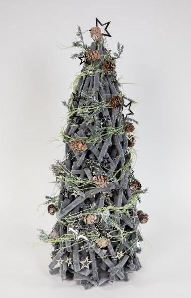 Holz-Tannenbaum 46cm grau-beflockt mit Deko künstlicher Baum Tann Weihnachtsbaum