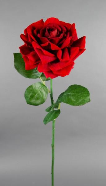 Große Rose Nature 70x16cm samt-rot CG Kunstblumen künstliche Rose Rosen Blumen Seidenblumen