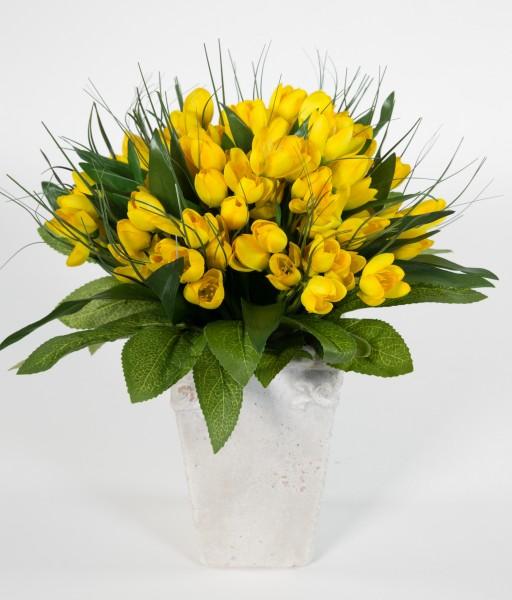 Krokusstrauß 32x30cm gelb Frühlingsstrauß Kunstblumen künstlicher handgebundener Strauß Blumenstrauß