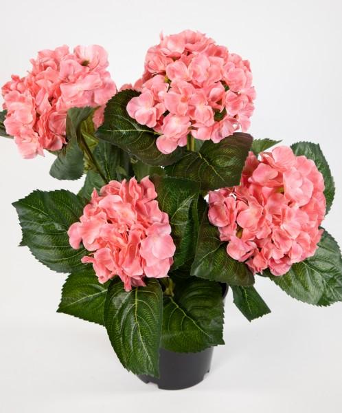 Hortensienbusch Deluxe 42cm rosa-pink im Topf LM Kunstpflanzen künstliche Hortensie Pflanzen Blumen