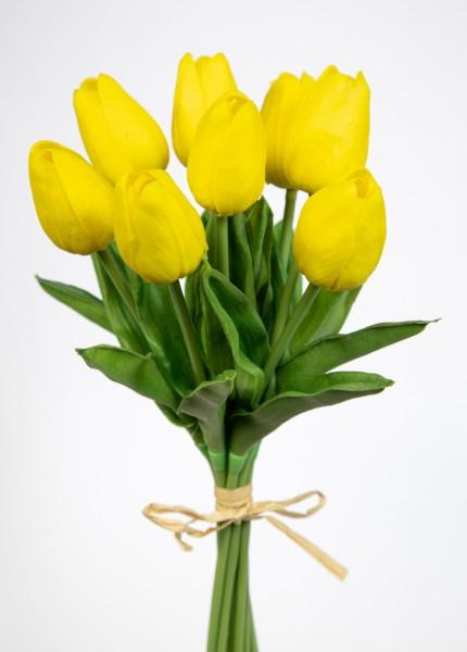 Tulpenbund mit 8 Tulpen PU Real Touch 34cm gelb ZF Kunstblumen künstliche Blumen