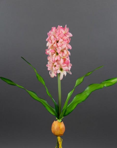 Hyazinthe mit Zwiebel 32cm rosa-pink PF künstliche Blumen Pflanzen Kunstpflanzen Kunstblumen