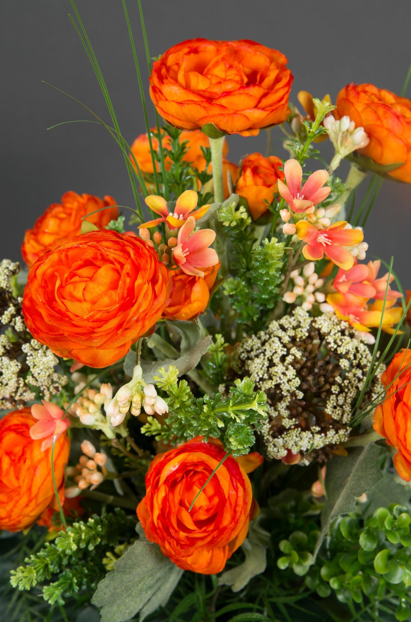 Ranunkelstrauß 48x44cm orange Kunstblumen künstliche ...