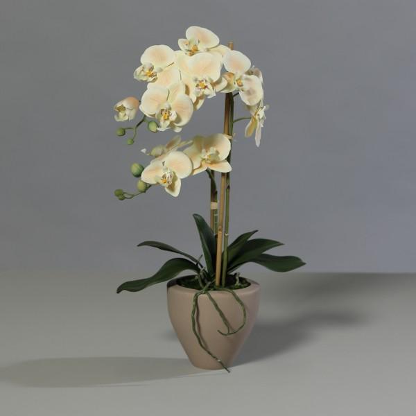 Orchidee Real Touch 62cm salmon im braunen Keramiktopf DP Kunstblumen künstliche Blumen