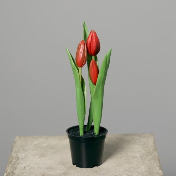 Tulpen Real Touch 20cm rot im Topf DP Kunstpflanzen künstliche Pflanzen Tulpentopf