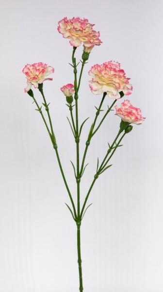 Nelkenzweig 62cm rosa-creme mit 6 Blüten FT Kunstblumen künstliche Nelken Trossnelken Dianthus Blume