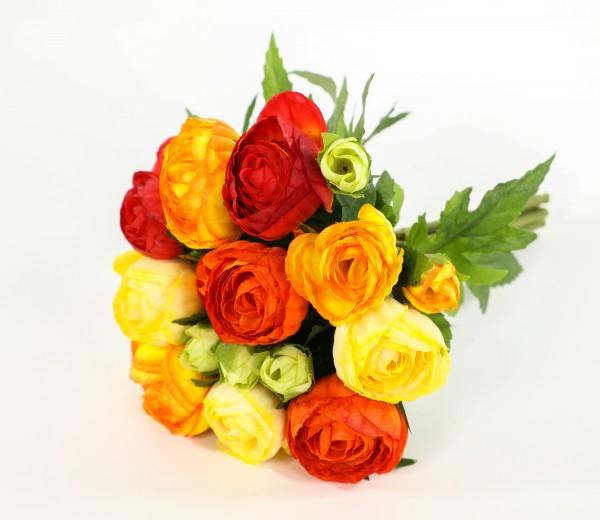 Ranunkelbouquet 22cm gelb-orange CG Kunstblumen künstliche Ranunkel Blumen Strauß