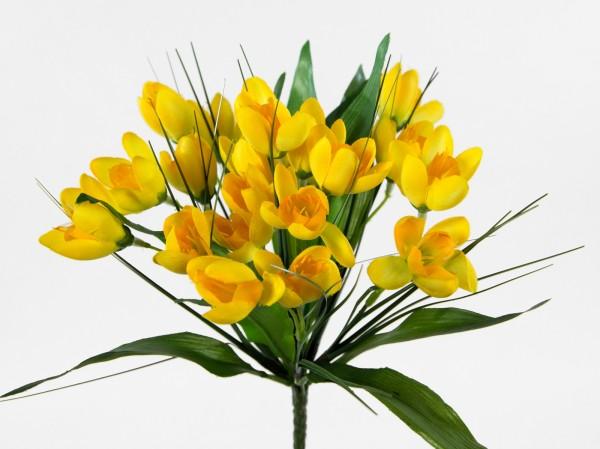 Krokusbusch 28cm gelb PM Kunstpflanzen Kunstblumen künstlicher Crocus Krokus Blumen