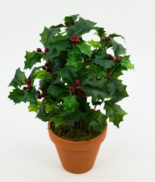 Ilexbusch 32x24cm im Topf DP Kunstpflanzen künstlicher Ilex Kunstblumen