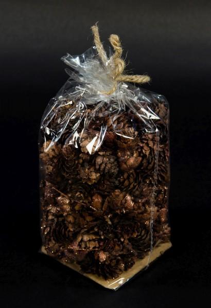 (€14,29/kg) 1 Beutel (140g) Lärchenzapfen braun-kupfer mit Glitter SG Tannenzapfen