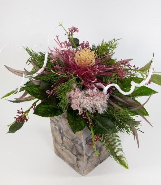 Chrysanthemenstrauß 40x30cm altrosa-creme Kunstblumen künstliche Blumen Blumenstrauß Strauß