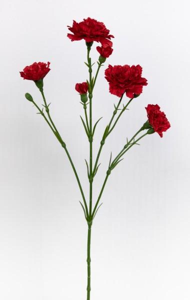 Nelkenzweig 62cm rot mit 6 Blüten FT Kunstblumen künstliche Nelken Trossnelken Dianthus Blumen