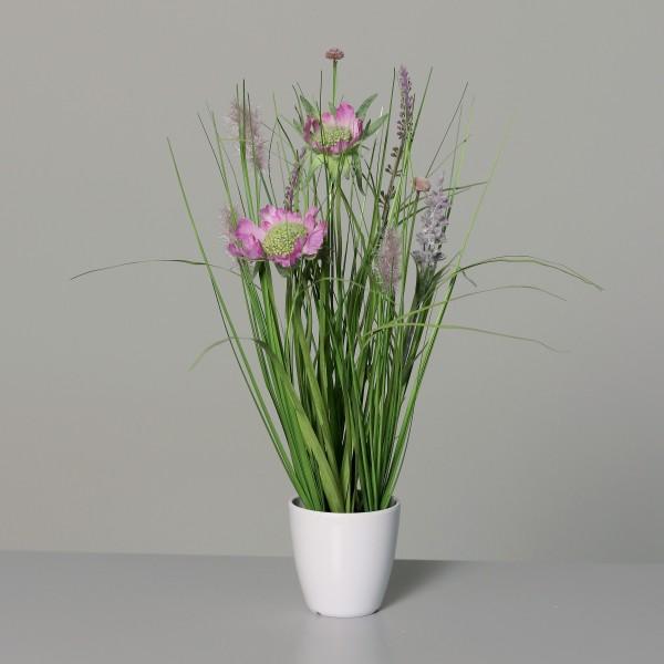 Wiesenblumengras 38cm pink im Dekotopf DP Kunstblumen Frühlingsblumen Kunstpflanzen Dekogras