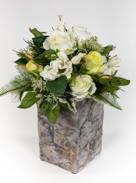 Strauß Amsterdam Exklusiv 32x28cm weiß-grün mit 16 Rosen Kunstblumen künstlicher Blumenstrauß