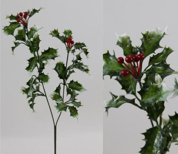 Ilexzweig 55cm grün-weiß CG mit roten Beeren Kunstblumen Ilexzweig