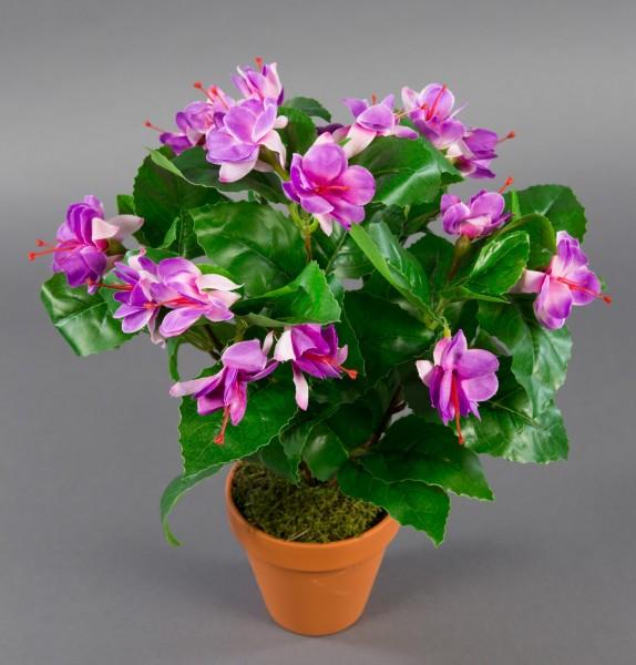 Fuchsien / Fuchsia 40cm flieder im Topf ZF künstliche Pflanzen künstliche Kunstpflanzen Kunstblumen