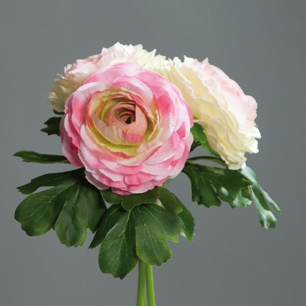 Ranunkelbouquet 20cm rosa-pink-creme DP Kunstblumen künstliche Ranunkel Blumen künstlicher Strauß