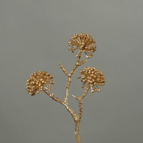 Efeu-Beeren-Fruchtstamm mit Glitzer 26cm gold DP künstlicher Zweig Kunstzweig