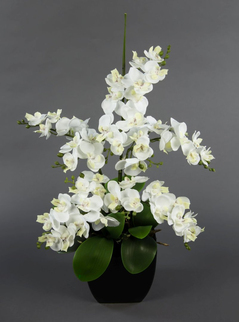 orchideen arrangement wei im schwarzen dekotopf ja kunstblumen k nstliche orchidee. Black Bedroom Furniture Sets. Home Design Ideas
