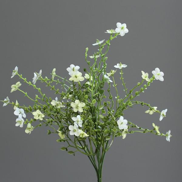Wiesenblumengras weiß 38cm im weißen Dekotopf Kunstblume Kunstgras Kunstpflanzen