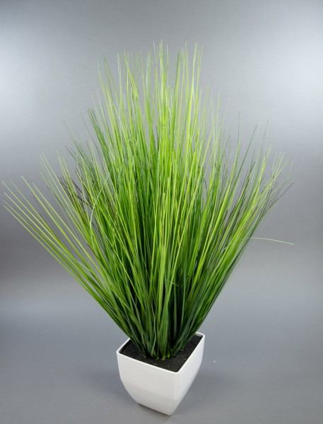 Dekogras 78x50cm im weißen Topf DP künstliche Pflanzen Kunstpflanzen Grasbusch Kunstgras