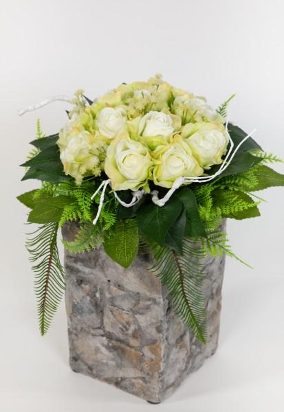 Brautstrauß / Rosenstrauß 32x24cm weiß-grün Kunstblumen Seidenblumen künstliche BlumenStrauß