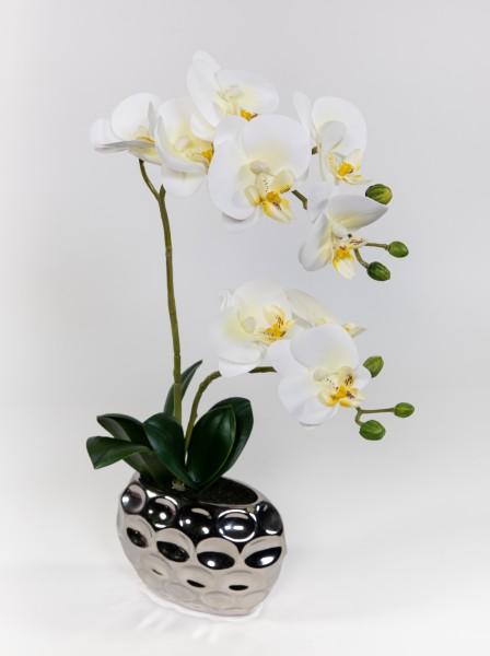 Orchidee Real Touch 38x24cm weiß in Silber-Keramikvase GA Kunstblumen künstliche Blumen Phalaenopsis
