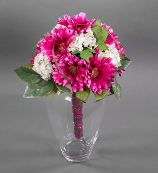 Gerberastrauß / Brautstrauß 40x32cm fuchsia - Kunstblumen künstlicher Strauß Blumenstrauß