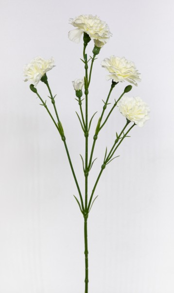 Nelkenzweig 62cm weiß mit 6 Blüten FT Kunstblumen künstliche Nelken Trossnelken Dianthus Blume