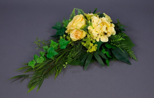 Tischgesteck / Wandhänger 45x30cm gelb - Kunstblumen Seidenblumen