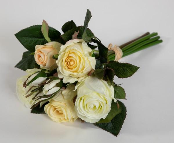Rosenbund / Rosenstrauß 28cm weiß-creme AD Kunstblumen künstliche Rosen Blumen Strauß