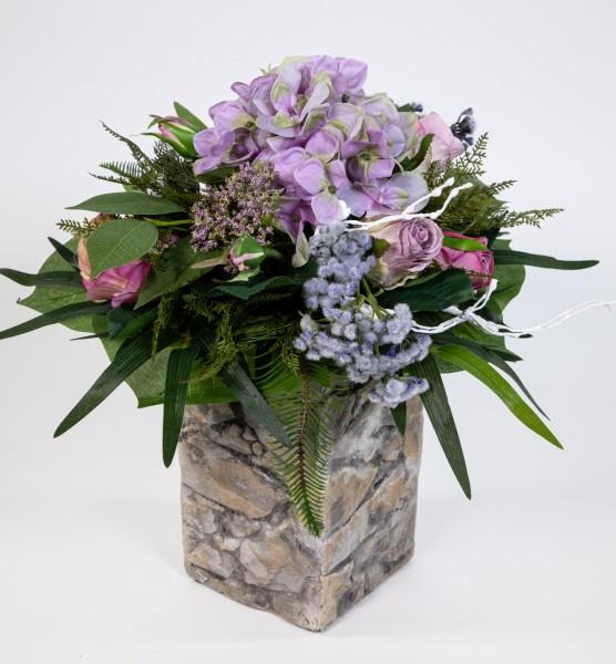 Hortensien- Rosenstrauß 40x32cm lila-blau Kunstblumen Seidenblumen künstliche Blumen Blumenstrauß St