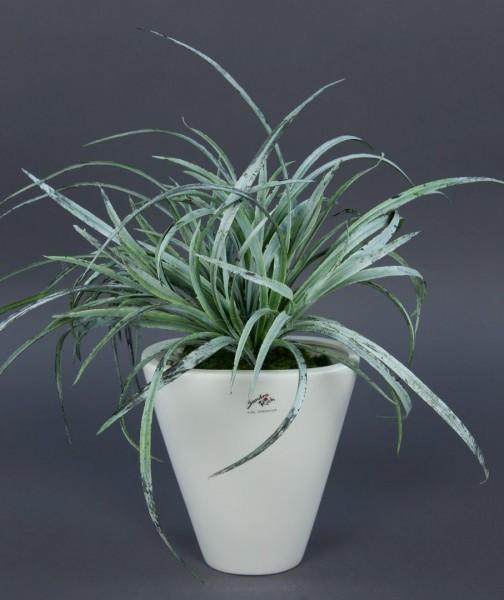 Gras bemehlt 42x36cm in weißer Keramikvase Kunstpflanzen Kunstgras künstliches Gras Grasbusch