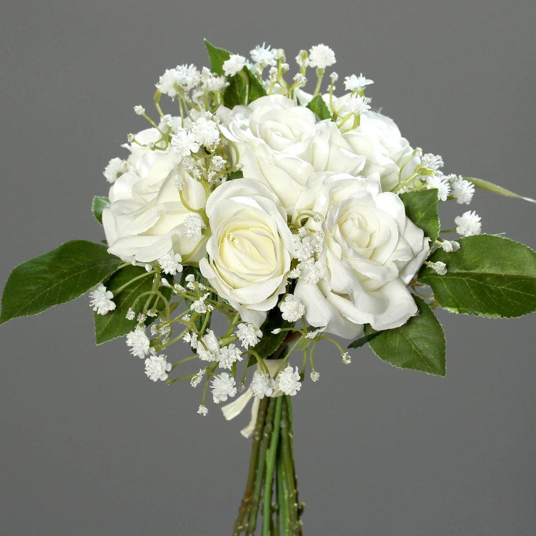 rosen schleierkrautbouquet 24cm wei dp kunstblumen k nstlicher strau rosen blumen rosenstrau. Black Bedroom Furniture Sets. Home Design Ideas