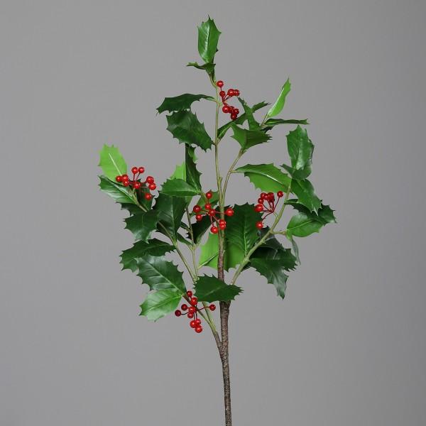 Ilexzweig Natural 72cm mit roten Beeren DP Kunstblumen künstliche Blumen