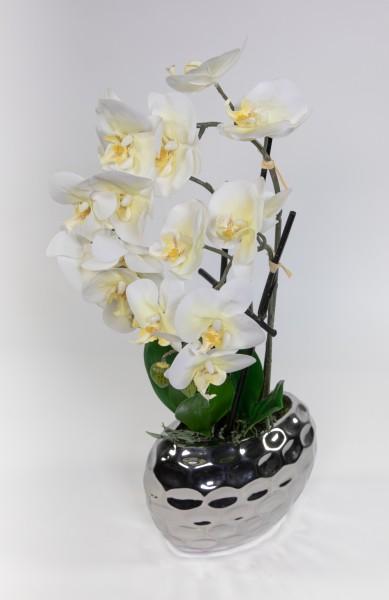 Orchidee Real Touch 56x26cm weiß in Silber-Keramikvase GA Kunstblumen künstliche Blumen Phalaenopsis