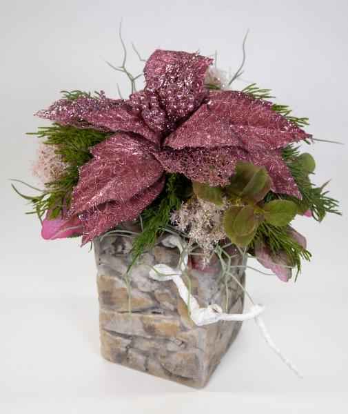 Weihnachtssternstrauß 36x25cm fuchsia JA künstlicher handgebundener Strauß Blumenstrauß Kunsblumen
