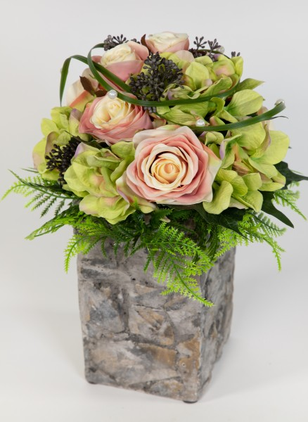 Rosen- Hortensienstrauß 32x28cm peach-rosa-grün Kunstblumen künstliche Blumen Blumenstrauß Strauß