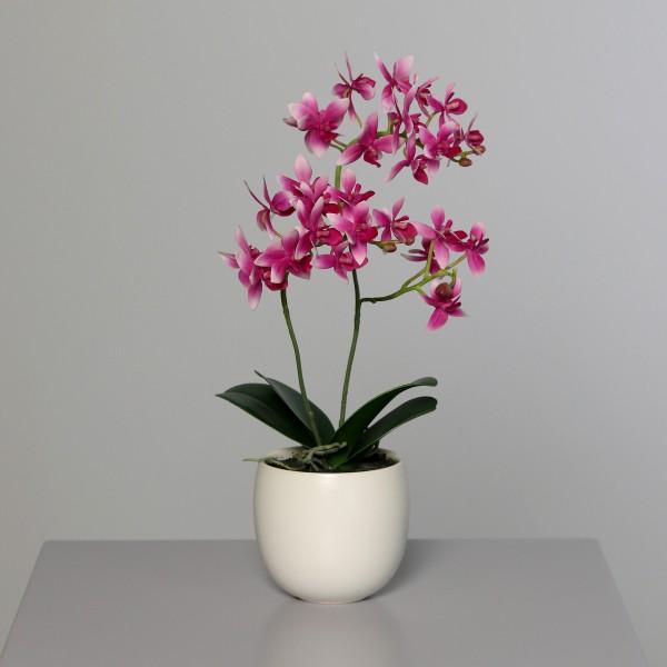 Orchidee 40x22cm rosa-pink im weißen Keramiktopf DP Kunstblumen künstliche Blumen Kunstpflanzen