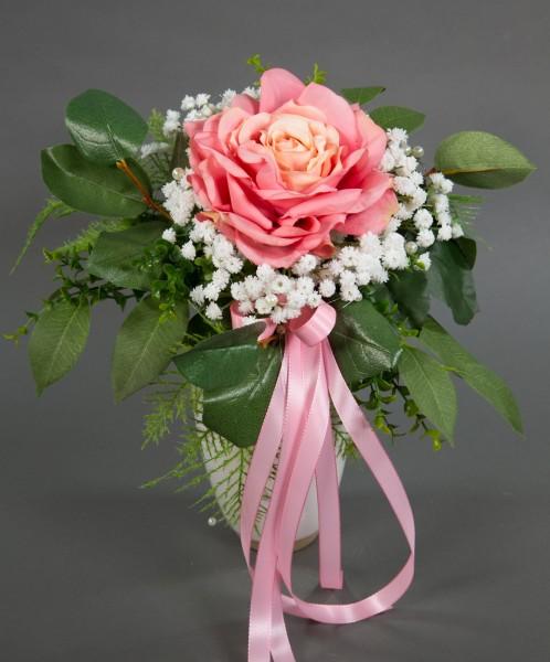 Strauß mit großer Rose 36x25cm rosa Kunstblumen künstlicher Strauß Blumenstrauß Rosenstrauß