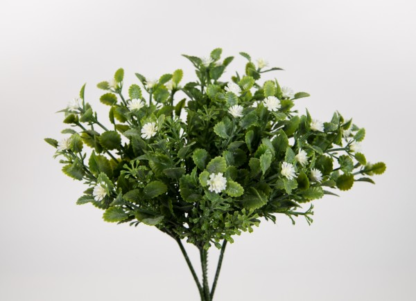 4 Stück Blätterpick mit weißen Blüten 22cm CG Kunstzweig künstliche Zweige Kunstpflanzen