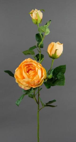 Rosenzweig 80cm peach FT Kunstblumen Seidenblumen künstliche Blumen Rosen