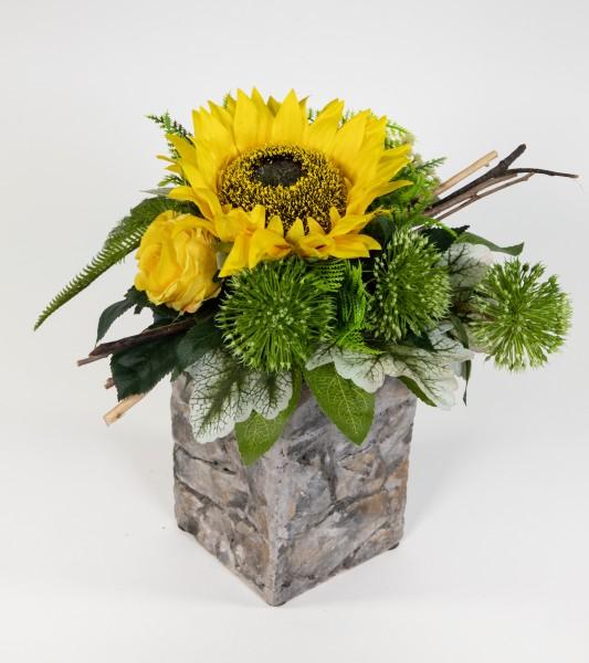 Sonnenblumenstrauß 32x30cm mit Rosen und Gerbera Kunstblumen künstlicher Strauß Blumenstrauß