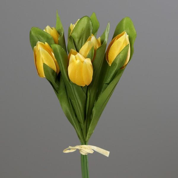 Tulpenbund 30cm gelb DP Kunstblumen künstliche Blumen Tulpen Tulpenbündel