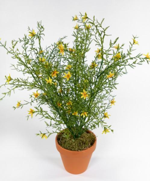 Blütenbusch 46cm gelb im Topf GA Kunstpflanzen künstliche Pflanzen Blumen Kunstblumen