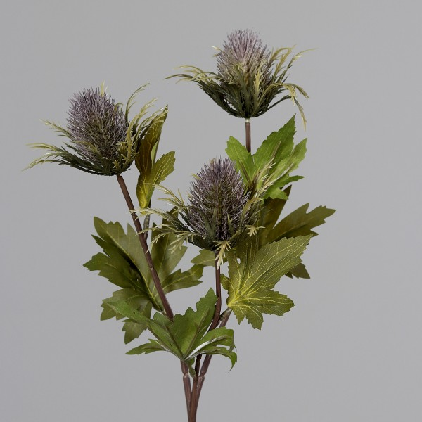 Distelzweig mit 3 Köpfen 68cm mauve DP Kunstblumen künstliche Blumen Distel Kunstzweig